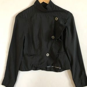 Free People Black Crop Side Button Front Jacket 2
